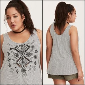 Torrid 1X Embroidered Striped Tank Top